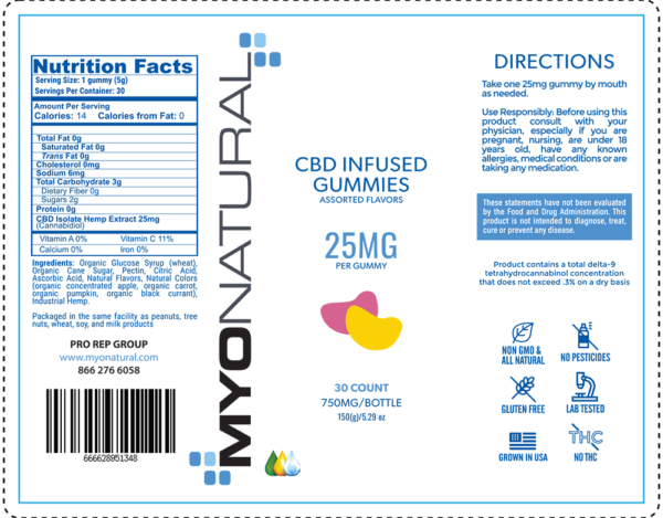 myonatural cbd gummy 25mg -